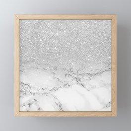 Modern faux grey silver glitter ombre white marble Framed Mini Art Print