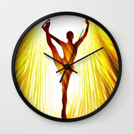 Ladies figure skating. Ballet dancer, ballerina. Winter sport ice rink Wall Clock