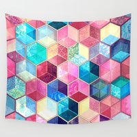 crystal Wall Tapestries featuring Topaz & Ruby Crystal Honeycomb Cubes by micklyn