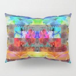 Vibrant Tropical Floral Stripes Pillow Sham