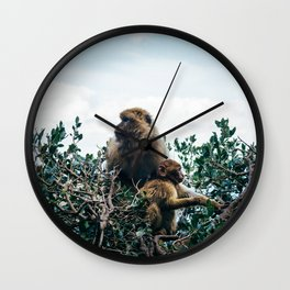 Macaque Mother and Daughter Wall Clock