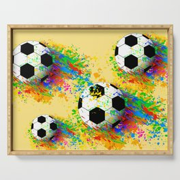 Football soccer sports colorful graphic design Serving Tray