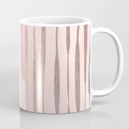Rose Gold Pastel Pink Vertical Stripes Coffee Mug