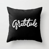 lettering Throw Pillows featuring Gratitude Lettering by studio v28