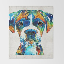 Colorful Boxer Dog Art By Sharon Cummings Throw Blanket