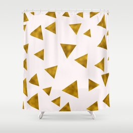 Soft Pink And Rustic Gold Triangles Shower Curtain