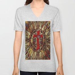 Jesus Cross Colorful Geometry Pattern Unisex V-Neck