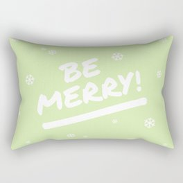 Bright Lime Green Be Merry Christmas Snowflakes Rectangular Pillow
