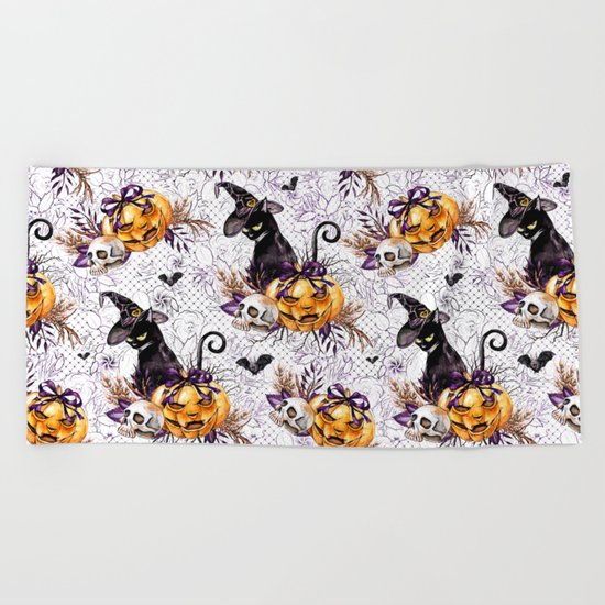 Halloween Witch #4 Beach Towel