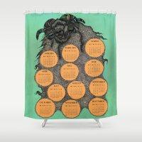 calendar Shower Curtains featuring Sheep Calendar 2015 by Julia Kisselmann