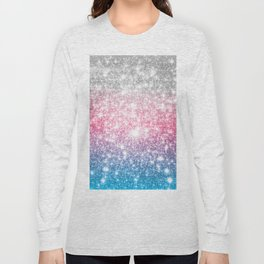 Galaxy Sparkle Stars Cotton Candy Long Sleeve T-shirt