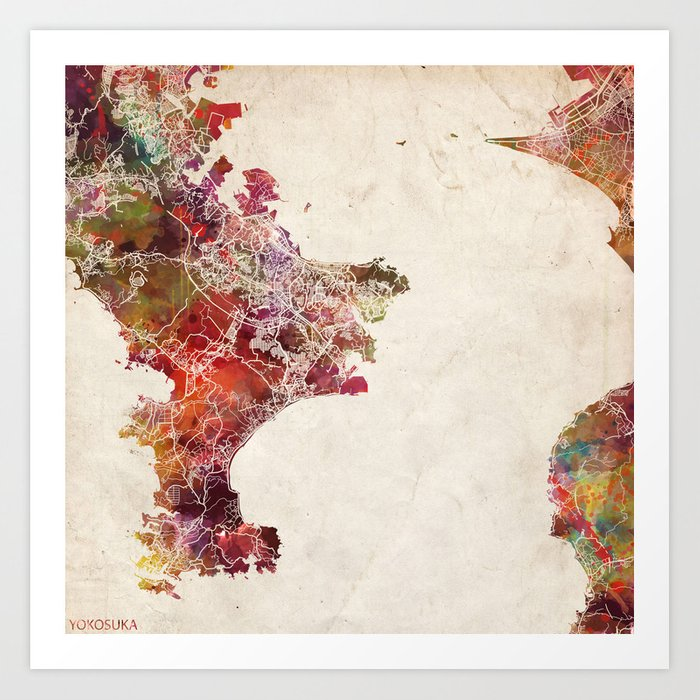 Yokosuka map Japan Art Print by mapmapmapswatercolors