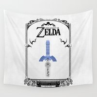 the legend of zelda Wall Tapestries featuring Zelda legend - Sword by Art & Be