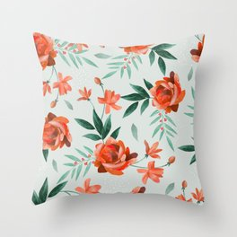 Paper-cut floral peach Throw Pillow