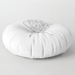 Botanical illustration line drawing - Peony Floor Pillow