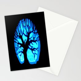 Happy HaLLoWeen Brain Tree Blue Stationery Cards