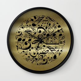Abstract Music notes on golden background Wall Clock