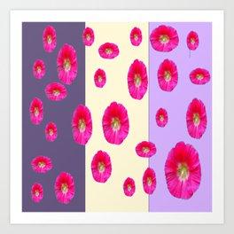 PINK-CERISE ASSORTED FLOATING HOLLYHOCK FLOWERS Art Print