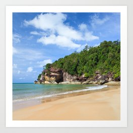 Exotic sand beach and cliffs with forest Art Print