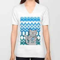 ikat V-neck T-shirts featuring iKat iCat by micklyn