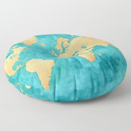 "Teal watercolor and gold world map with countries and states ""Lexy"" Floor Pillow"
