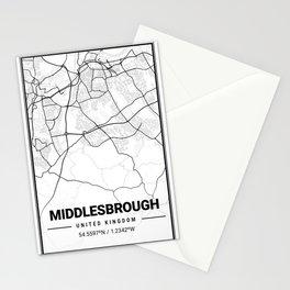 Middlesbrough Light City Map Stationery Cards