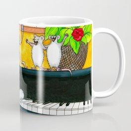 Cat Playing piano Coffee Mug