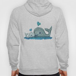 Whale Mom and Baby with Hearts in Gray and Turquoise Hoody