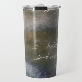 Vintage Writing Cyanatope Print Travel Mug