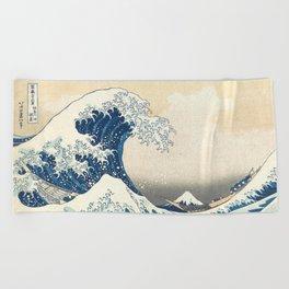 The Great Wave off Kanagawa by Katsushika Hokusai from the series Thirty-six Views of Mount Fuji Beach Towel