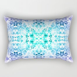 Floral Print - Teal & Purple Rectangular Pillow