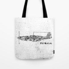 North American P51 Mustang (black) Tote Bag