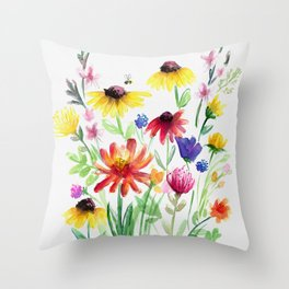 Summer Wildflowers Throw Pillow
