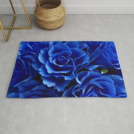Blue Roses Flowers Plant Romance Rug