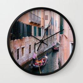 Venice Gondola Rides in Pink Wall Clock