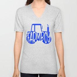 Farmer Gift Home Farm Boy Blue Tractor Farming Gift Unisex V-Neck