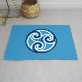 Celtic Triskele Ornament, Sky Blue and White Rug