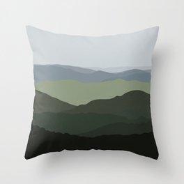 Green Mountainscape Throw Pillow