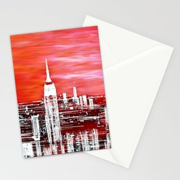 Abstract Red In The City Design Stationery Cards