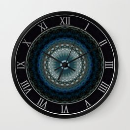 Detailed mandala in grey and blue tones Wall Clock