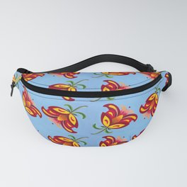 Peaceful Offering Hand Painted Oil Floral, Blue Fanny Pack