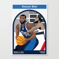 blair waldorf Canvas Prints featuring DeJuan Blair by Everyplayerintheleague