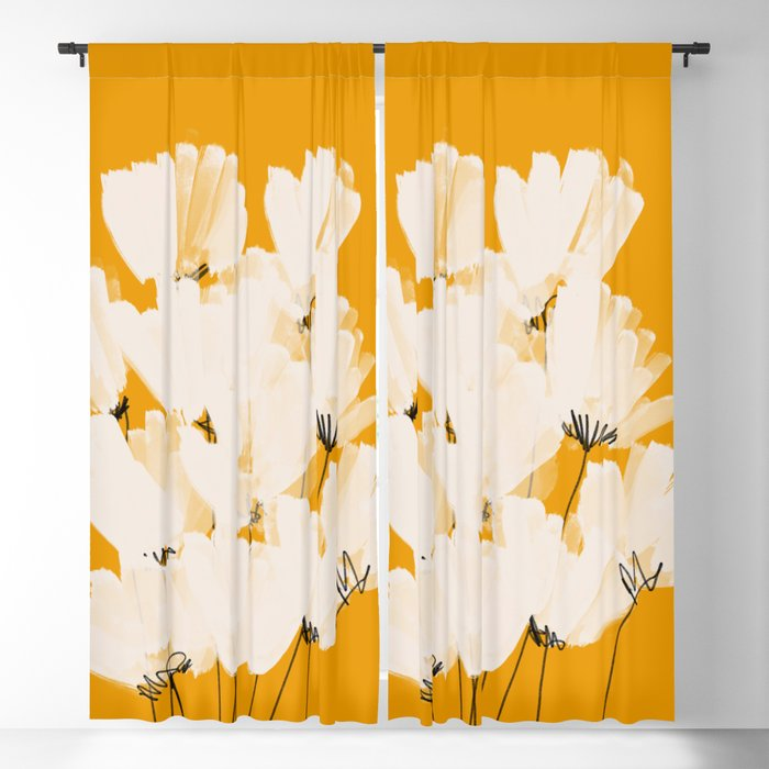 Flowers In Tangerine Blackout Curtain