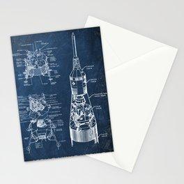 apollo lunar module chalkboard blueprint Stationery Cards