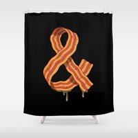 bacon Shower Curtains featuring Kevin's Bacon by Carlitos Way
