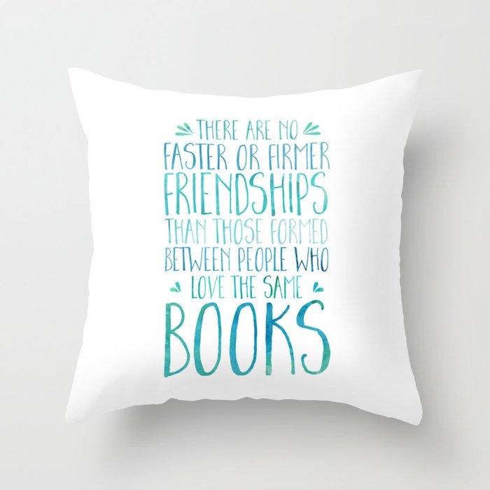 Bookish Friendship - Blue Throw Pillow