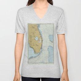Florida Atlantic Coast Map (1982) Unisex V-Neck