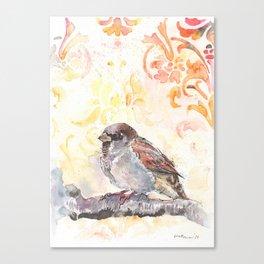 Sparrow in a Damask Autumn Canvas Print