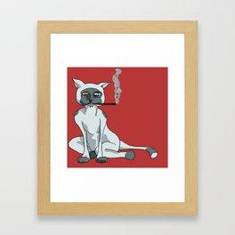 Cat with Cigarette Framed Art Print