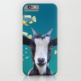 Goat with tropical fishes iPhone Case